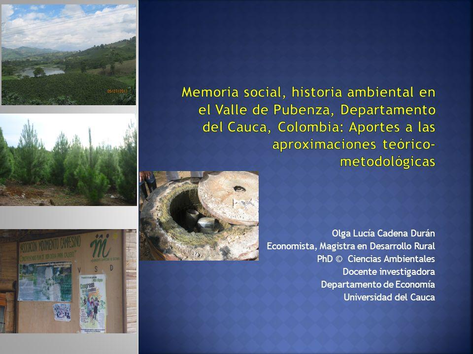 Olga Lucía Cadena Durán Economista, Magistra en Desarrollo Rural PhD © Ciencias Ambientales Docente investigadora Departamento de Economía Universidad del Cauca
