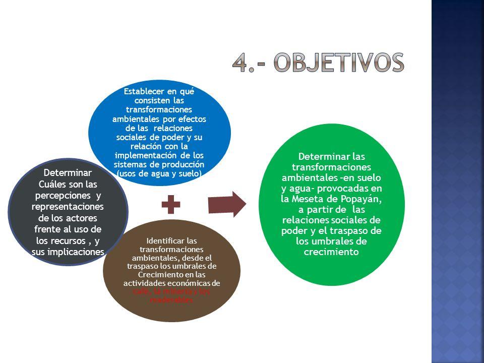 Establecer en qué consisten las transformaciones ambientales por efectos de las relaciones sociales de poder y su relación con la implementación de los sistemas de producción (usos de agua y suelo) Identificar las transformaciones ambientales, desde el traspaso los umbrales de Crecimiento en las actividades económicas de café, la minería y los maderables Determinar las transformaciones ambientales –en suelo y agua- provocadas en la Meseta de Popayán, a partir de las relaciones sociales de poder y el traspaso de los umbrales de crecimiento Determinar Cuáles son las percepciones y representaciones de los actores frente al uso de los recursos, y sus implicaciones
