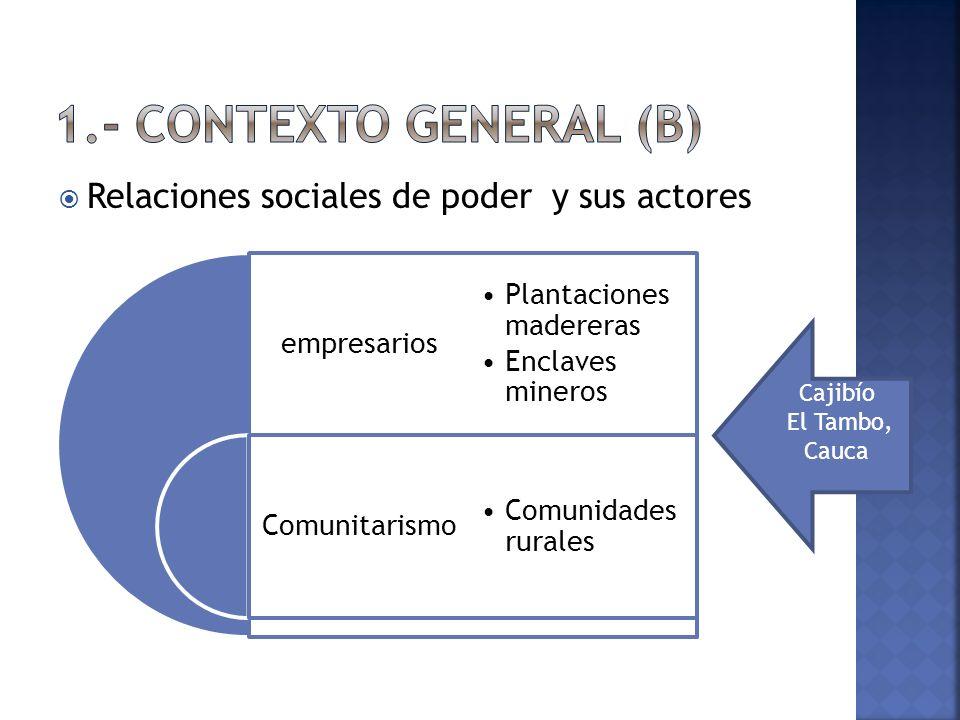 Relaciones sociales de poder y sus actores empresarios Comunitarismo Plantaciones madereras Enclaves mineros Comunidades rurales Cajibío El Tambo, Cauca