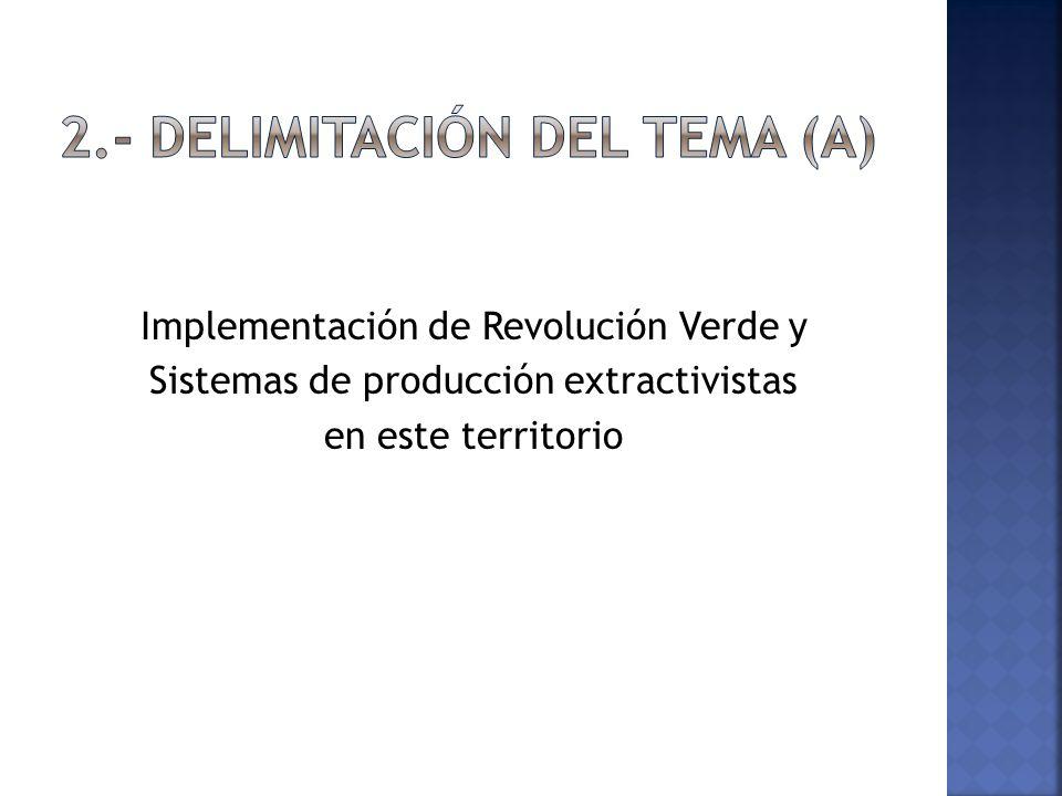 Implementación de Revolución Verde y Sistemas de producción extractivistas en este territorio