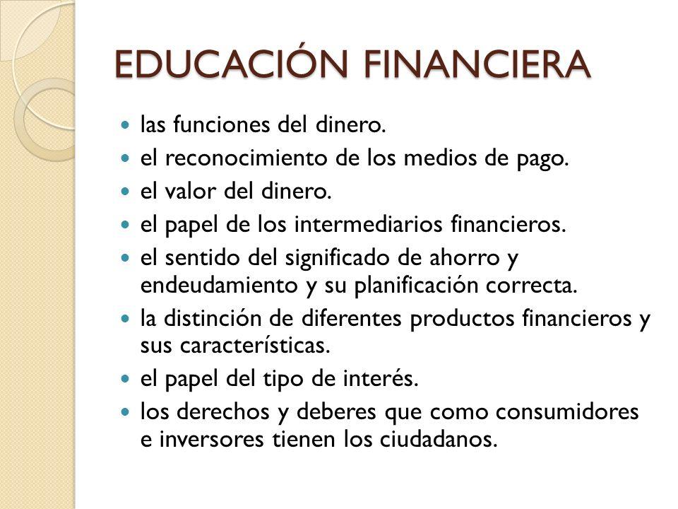 EDUCACIÓN FINANCIERA las funciones del dinero. el reconocimiento de los medios de pago. el valor del dinero. el papel de los intermediarios financiero