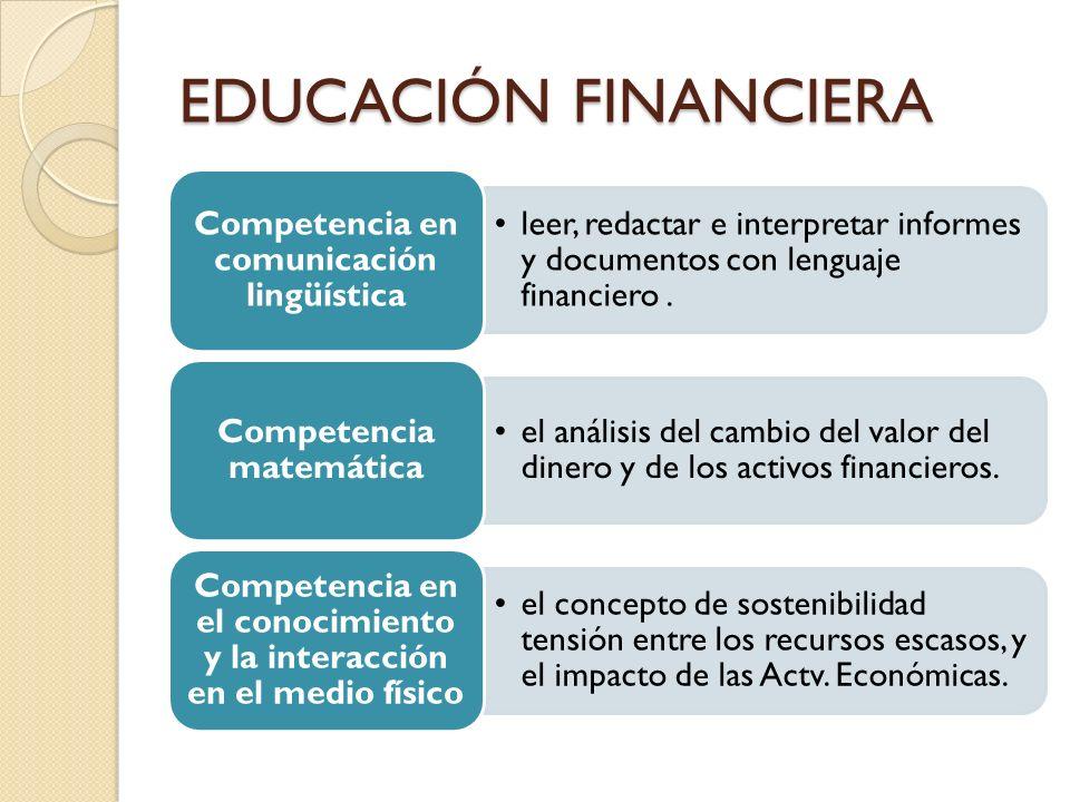 EDUCACIÓN FINANCIERA leer, redactar e interpretar informes y documentos con lenguaje financiero. Competencia en comunicación lingüística el análisis d