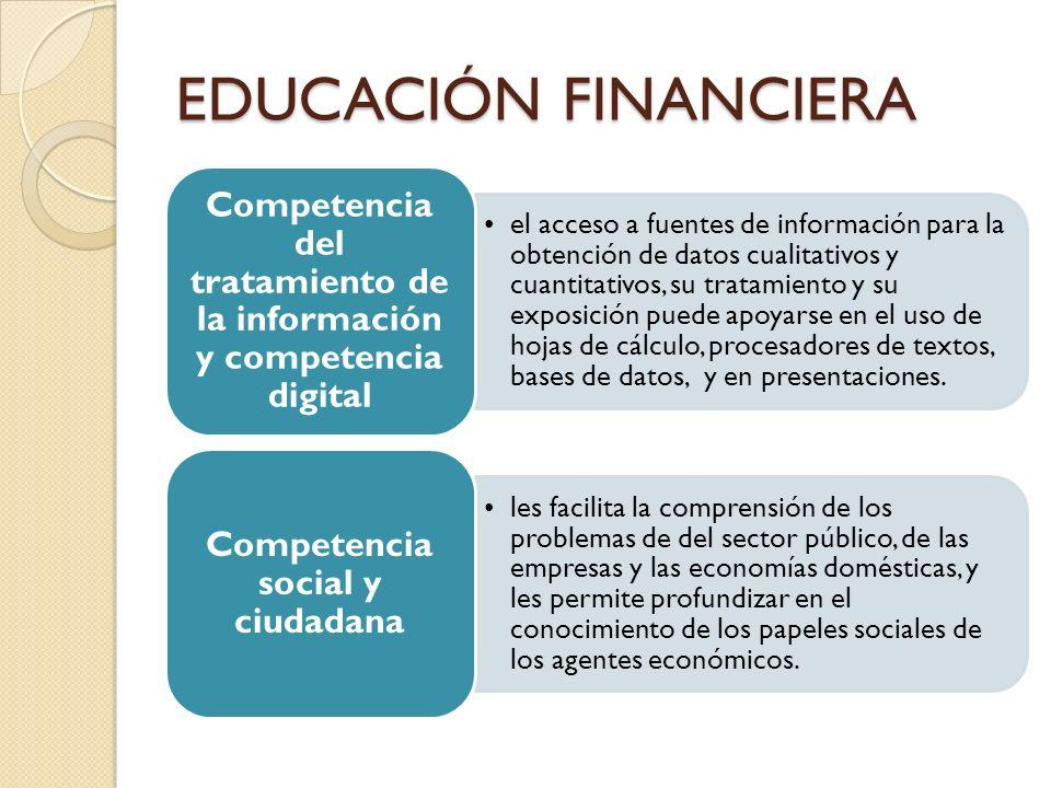 EDUCACIÓN FINANCIERA el acceso a fuentes de información para la obtención de datos cualitativos y cuantitativos, su tratamiento y su exposición puede