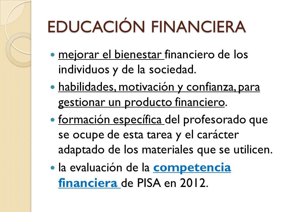 mejorar el bienestar financiero de los individuos y de la sociedad. habilidades, motivación y confianza, para gestionar un producto financiero. formac