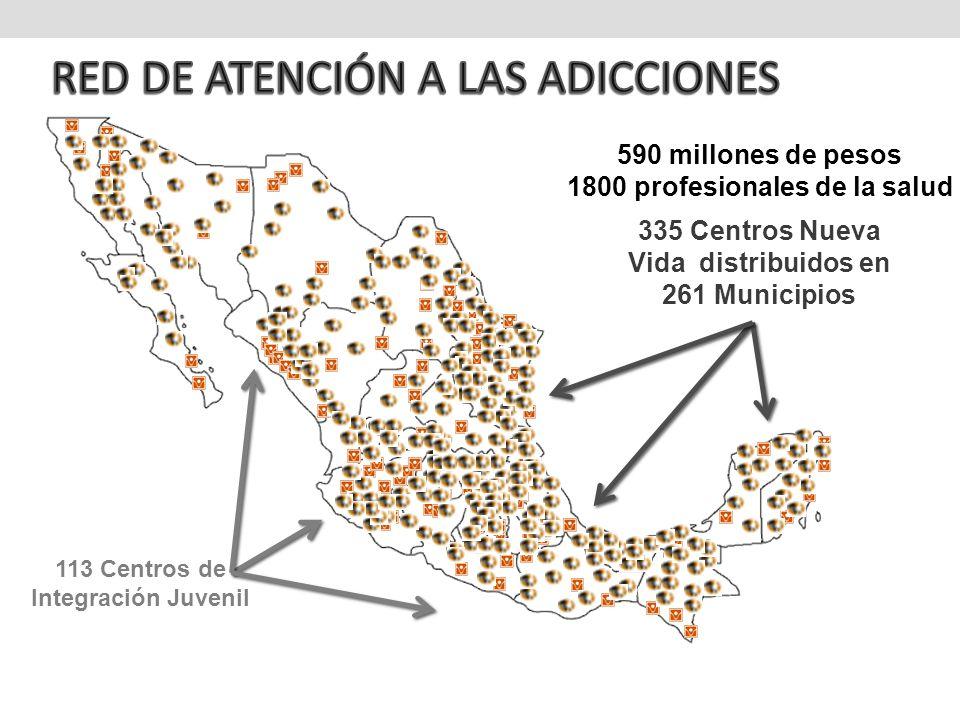 113 Centros de Integración Juvenil 335 Centros Nueva Vida distribuidos en 261 Municipios 590 millones de pesos 1800 profesionales de la salud
