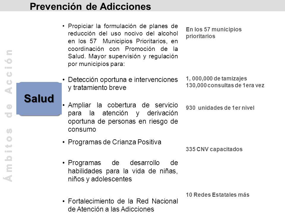 Salud Propiciar la formulación de planes de reducción del uso nocivo del alcohol en los 57 Municipios Prioritarios, en coordinación con Promoción de l