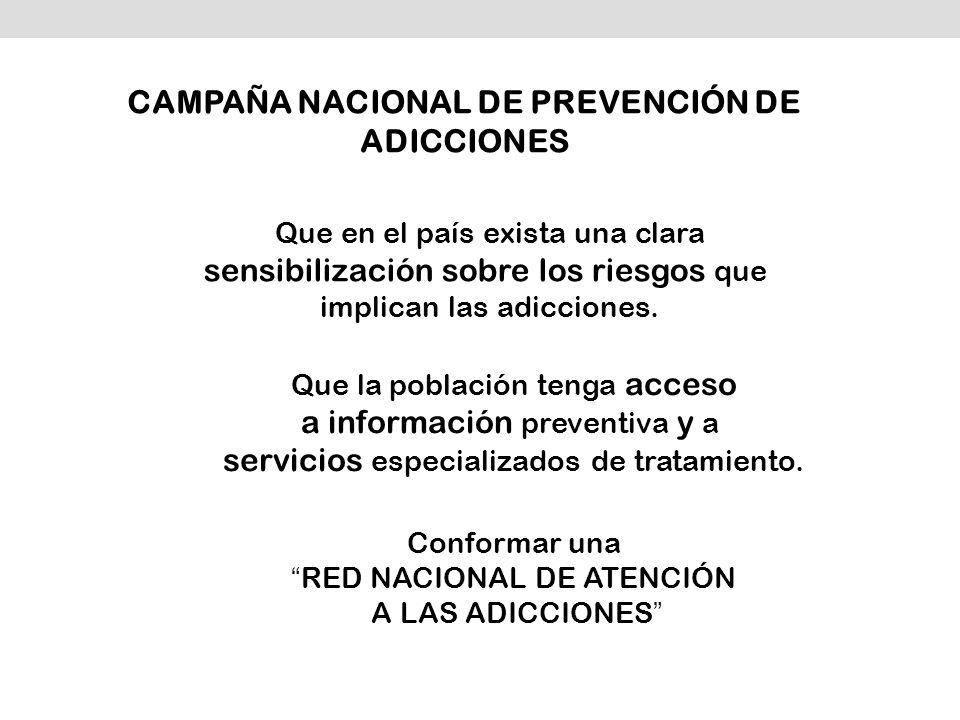 Conformar una RED NACIONAL DE ATENCIÓN A LAS ADICCIONES Que en el país exista una clara sensibilización sobre los riesgos que implican las adicciones.