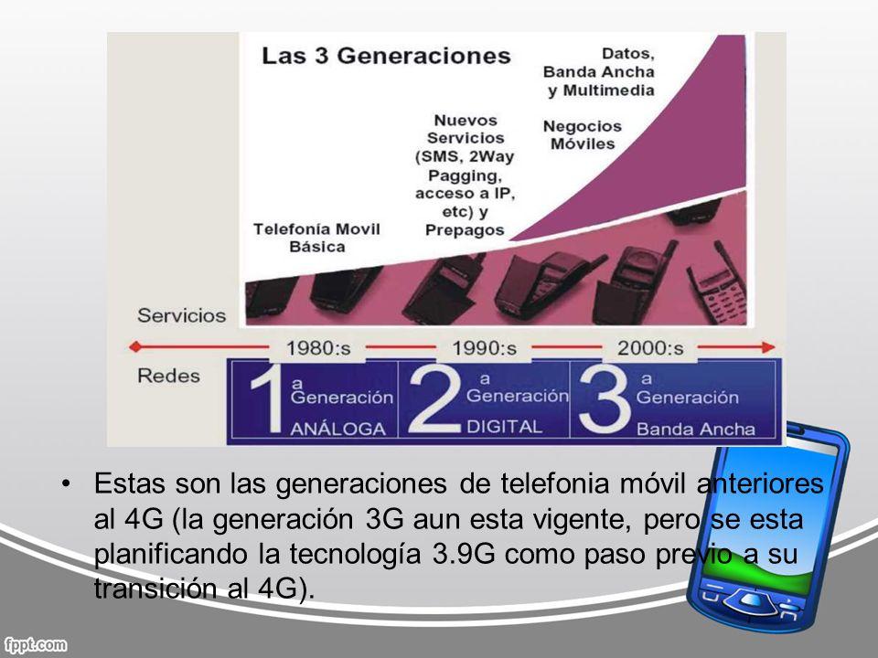 Estas son las generaciones de telefonia móvil anteriores al 4G (la generación 3G aun esta vigente, pero se esta planificando la tecnología 3.9G como p