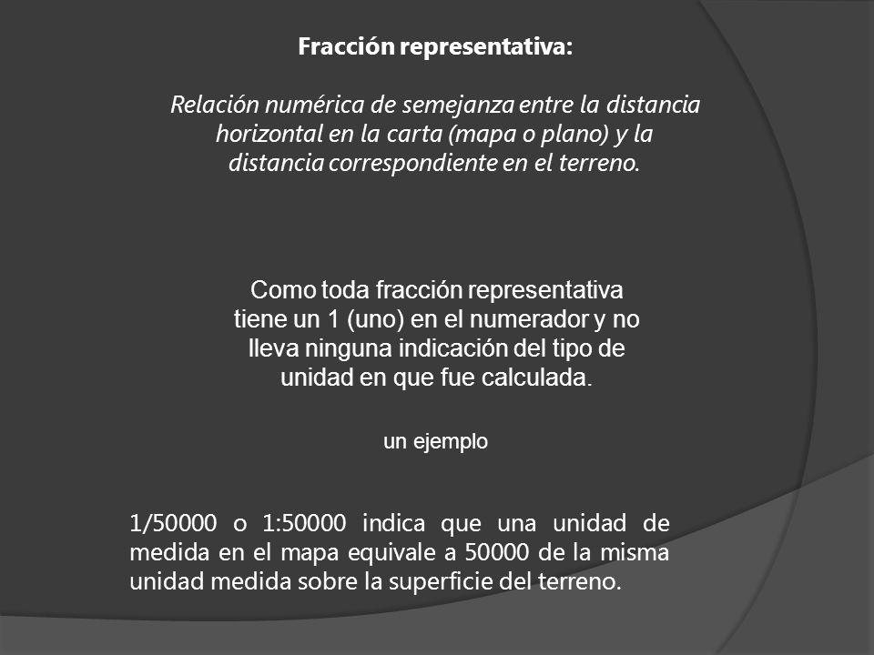 Fracción representativa: Relación numérica de semejanza entre la distancia horizontal en la carta (mapa o plano) y la distancia correspondiente en el