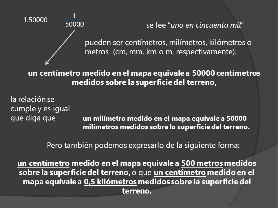 un centímetro medido en el mapa equivale a 500 metros medidos sobre la superficie del terreno, o que un centímetro medido en el mapa equivale a 0,5 ki