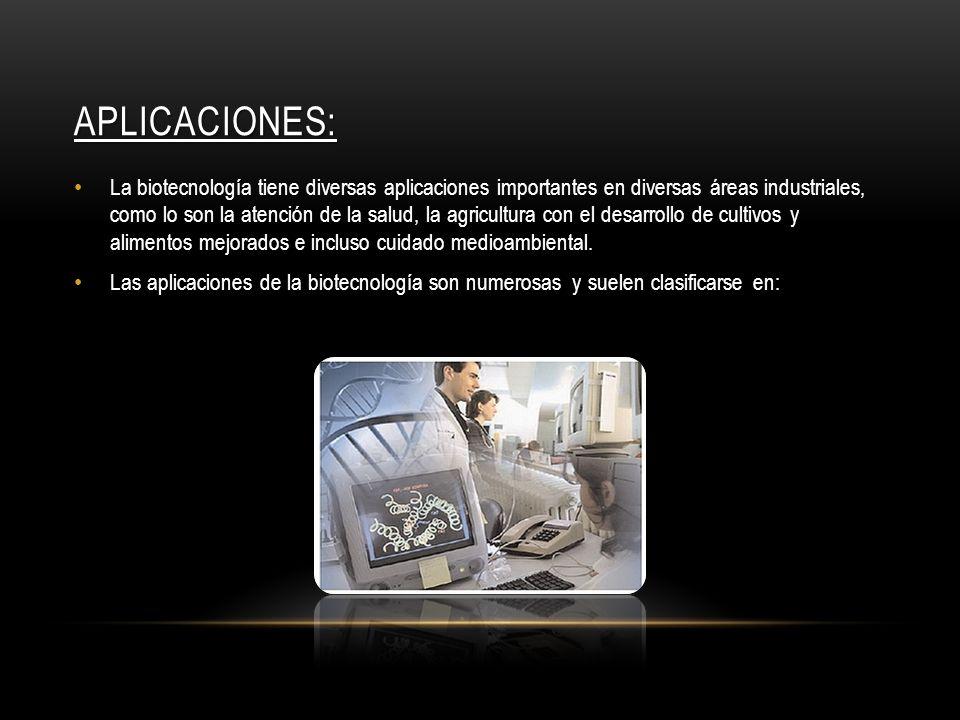 APLICACIONES: La biotecnología tiene diversas aplicaciones importantes en diversas áreas industriales, como lo son la atención de la salud, la agricul