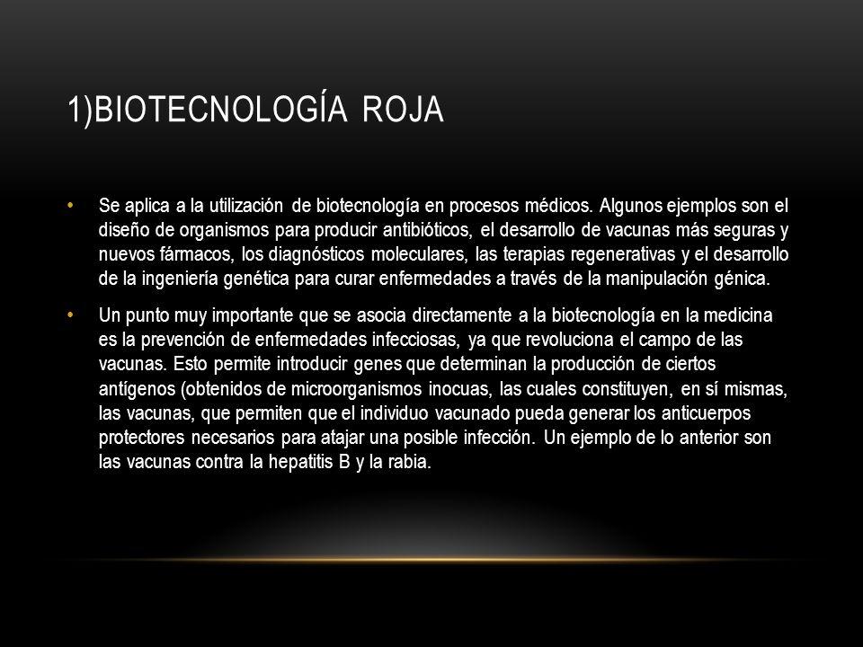 1)BIOTECNOLOGÍA ROJA Se aplica a la utilización de biotecnología en procesos médicos. Algunos ejemplos son el diseño de organismos para producir antib