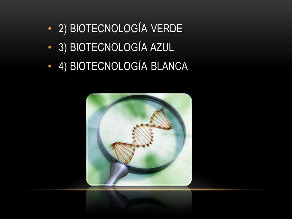 2) BIOTECNOLOGÍA VERDE 3) BIOTECNOLOGÍA AZUL 4) BIOTECNOLOGÍA BLANCA