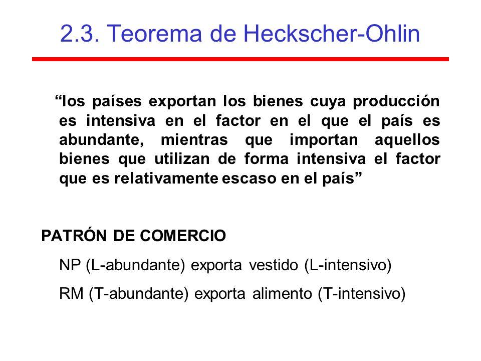 2.3. Teorema de Heckscher-Ohlin los países exportan los bienes cuya producción es intensiva en el factor en el que el país es abundante, mientras que