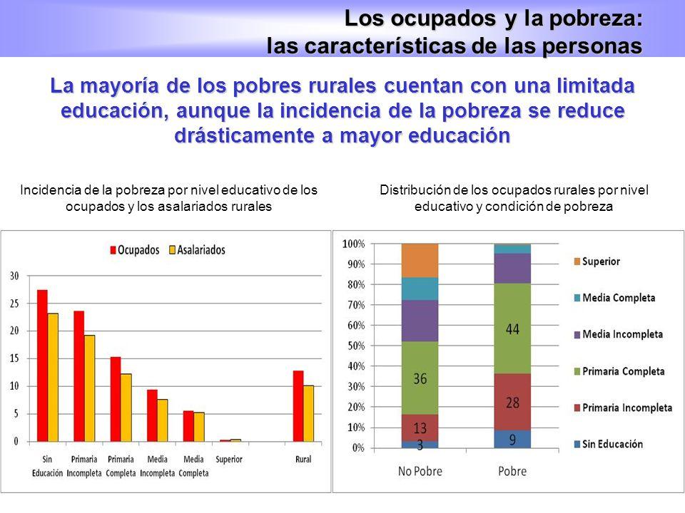 La mayoría de los pobres rurales cuentan con una limitada educación, aunque la incidencia de la pobreza se reduce drásticamente a mayor educación Los