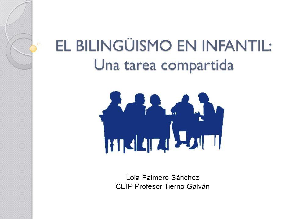 EL BILINGÜISMO EN INFANTIL: Una tarea compartida Lola Palmero Sánchez CEIP Profesor Tierno Galván