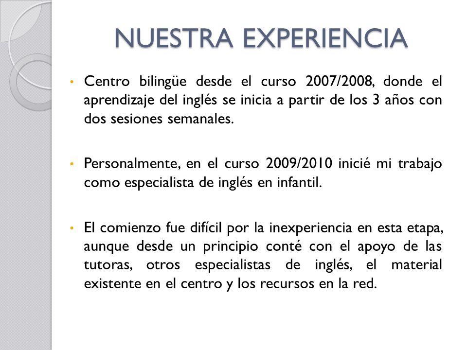 NUESTRA EXPERIENCIA Centro bilingüe desde el curso 2007/2008, donde el aprendizaje del inglés se inicia a partir de los 3 años con dos sesiones semana