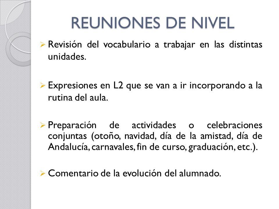 REUNIONES DE NIVEL Revisión del vocabulario a trabajar en las distintas unidades. Expresiones en L2 que se van a ir incorporando a la rutina del aula.