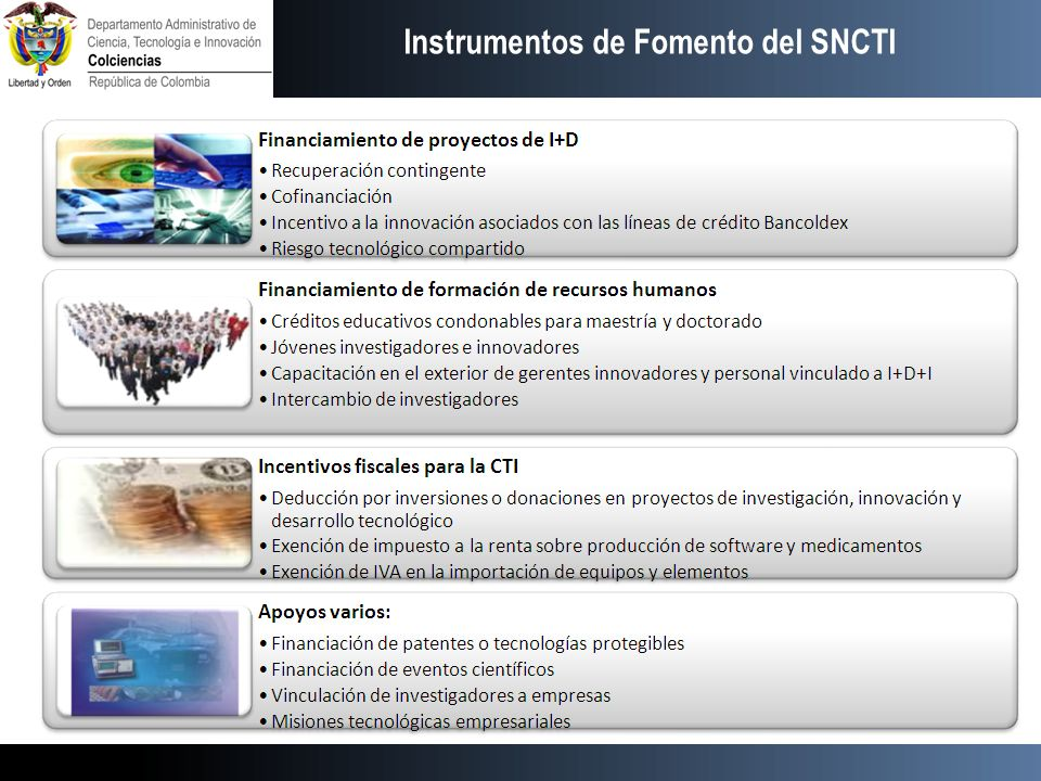Instrumentos de Fomento Instrumentos de Fomento del SNCTI