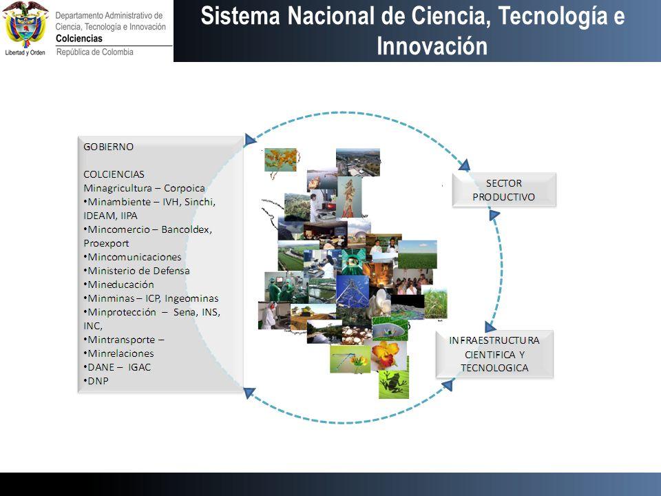 Primera Fase – Fortalecimiento del sistema Sistema de información Fortalecimiento de Colciencias Revisión de instrumentos Planes de Negocios – Biodiversidad, biocombustibles, Recursos hídricos, Bosques, Materiales, Electrónica, TIC Recursos Humanos, – Diáspora, Segunda Fase Crédito Banca Multilateral