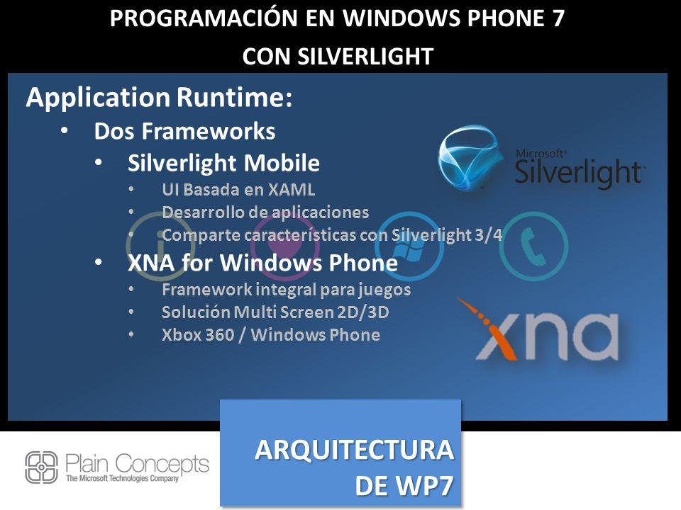 PROGRAMACIÓN EN WINDOWS PHONE 7 CON SILVERLIGHT Application Runtime: Dos Frameworks Silverlight Mobile UI Basada en XAML Desarrollo de aplicaciones Co