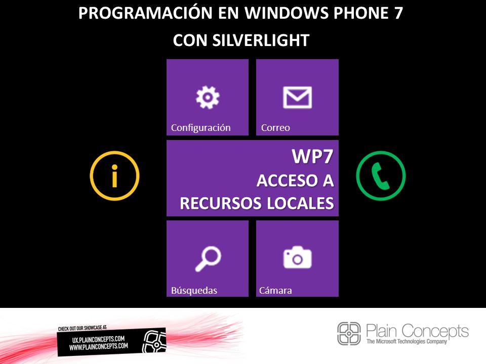PROGRAMACIÓN EN WINDOWS PHONE 7 CON SILVERLIGHT WP7 ACCESO A RECURSOS LOCALES ConfiguraciónCorreo BúsquedasCámara