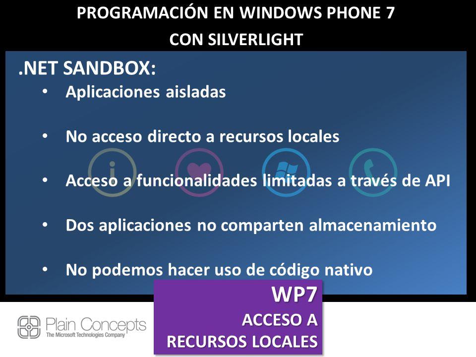 PROGRAMACIÓN EN WINDOWS PHONE 7 CON SILVERLIGHT.NET SANDBOX: Aplicaciones aisladas No acceso directo a recursos locales Acceso a funcionalidades limit
