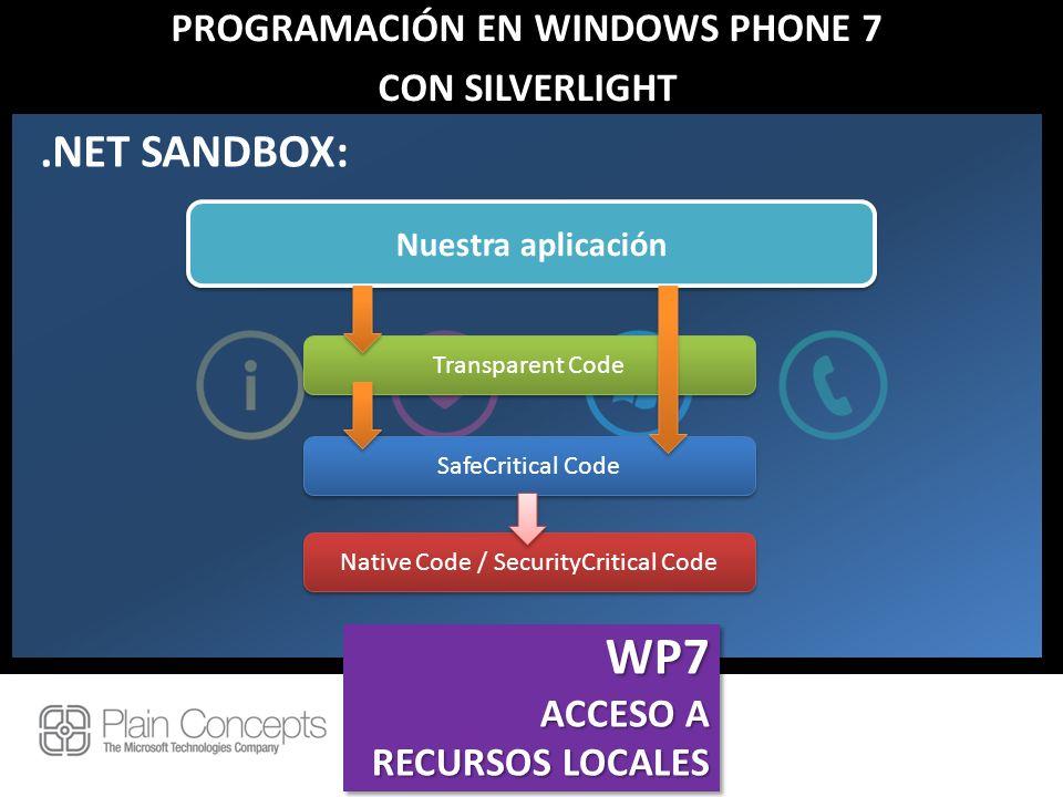 PROGRAMACIÓN EN WINDOWS PHONE 7 CON SILVERLIGHT.NET SANDBOX: Native Code / SecurityCritical Code SafeCritical Code Transparent Code Nuestra aplicación