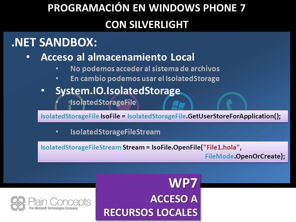 PROGRAMACIÓN EN WINDOWS PHONE 7 CON SILVERLIGHT.NET SANDBOX: Acceso al almacenamiento Local No podemos acceder al sistema de archivos En cambio podemo