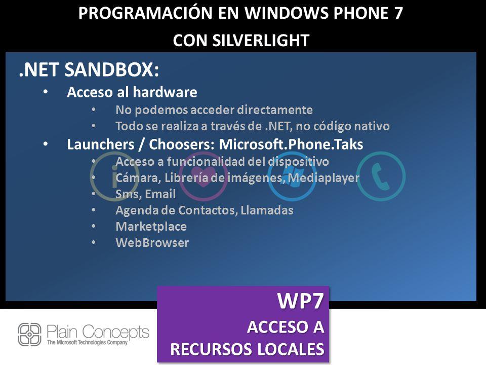 PROGRAMACIÓN EN WINDOWS PHONE 7 CON SILVERLIGHT.NET SANDBOX: Acceso al hardware No podemos acceder directamente Todo se realiza a través de.NET, no có
