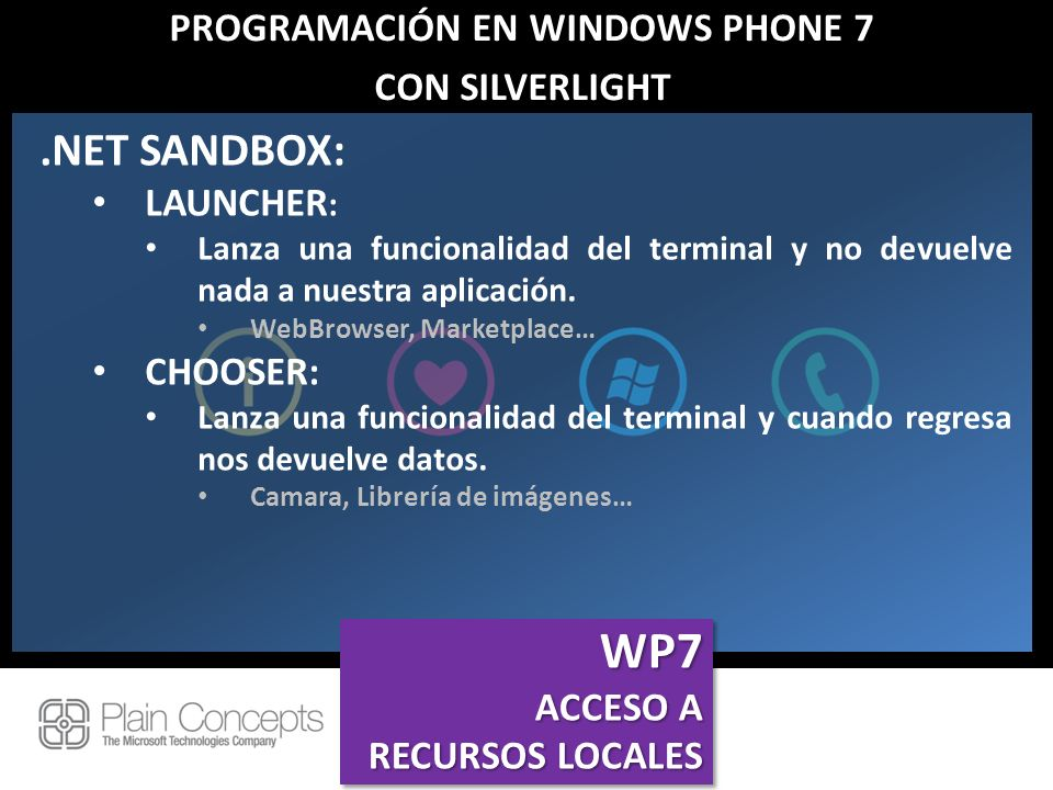 PROGRAMACIÓN EN WINDOWS PHONE 7 CON SILVERLIGHT.NET SANDBOX: LAUNCHER : Lanza una funcionalidad del terminal y no devuelve nada a nuestra aplicación.