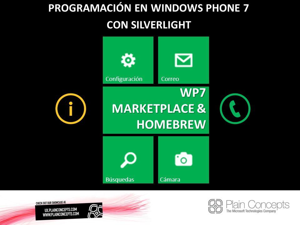 PROGRAMACIÓN EN WINDOWS PHONE 7 CON SILVERLIGHT WP7 MARKETPLACE & HOMEBREW ConfiguraciónCorreo BúsquedasCámara