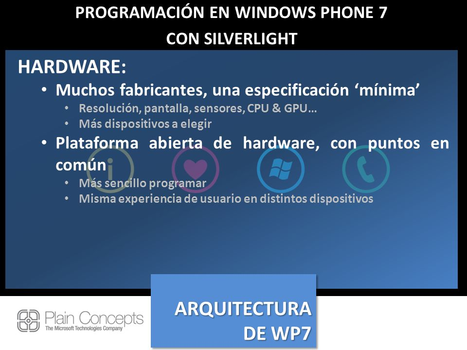 PROGRAMACIÓN EN WINDOWS PHONE 7 CON SILVERLIGHT HARDWARE: Muchos fabricantes, una especificación mínima Resolución, pantalla, sensores, CPU & GPU… Más