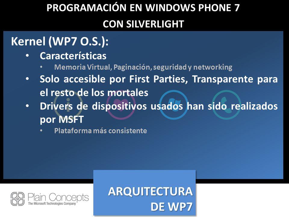 PROGRAMACIÓN EN WINDOWS PHONE 7 CON SILVERLIGHT Kernel (WP7 O.S.): Características Memoria Virtual, Paginación, seguridad y networking Solo accesible