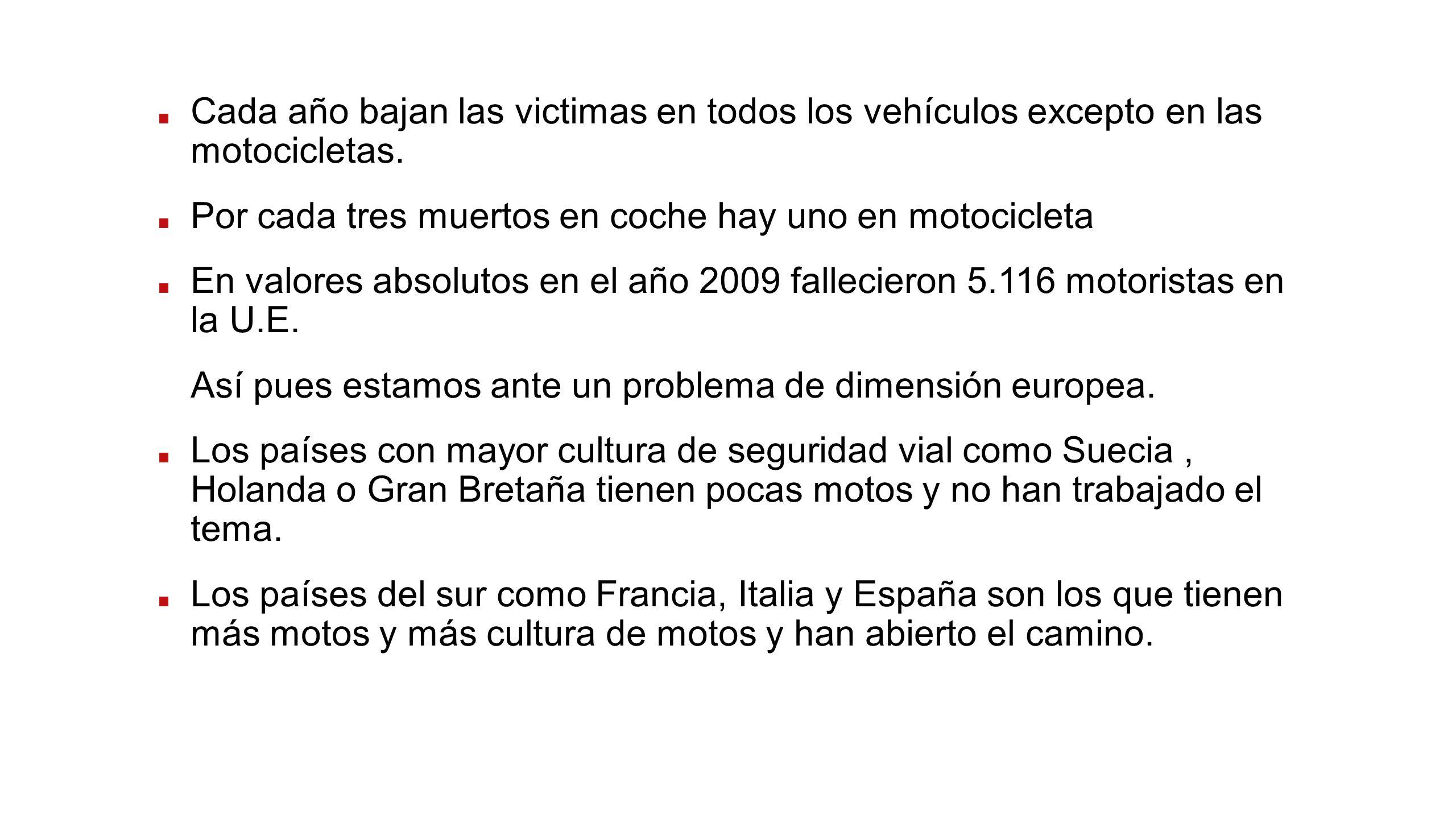 Cada año bajan las victimas en todos los vehículos excepto en las motocicletas. Por cada tres muertos en coche hay uno en motocicleta En valores absol