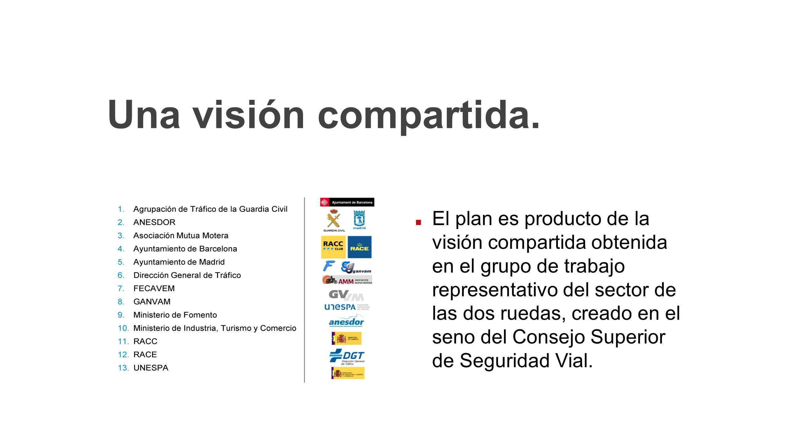 Una visión compartida. El plan es producto de la visión compartida obtenida en el grupo de trabajo representativo del sector de las dos ruedas, creado