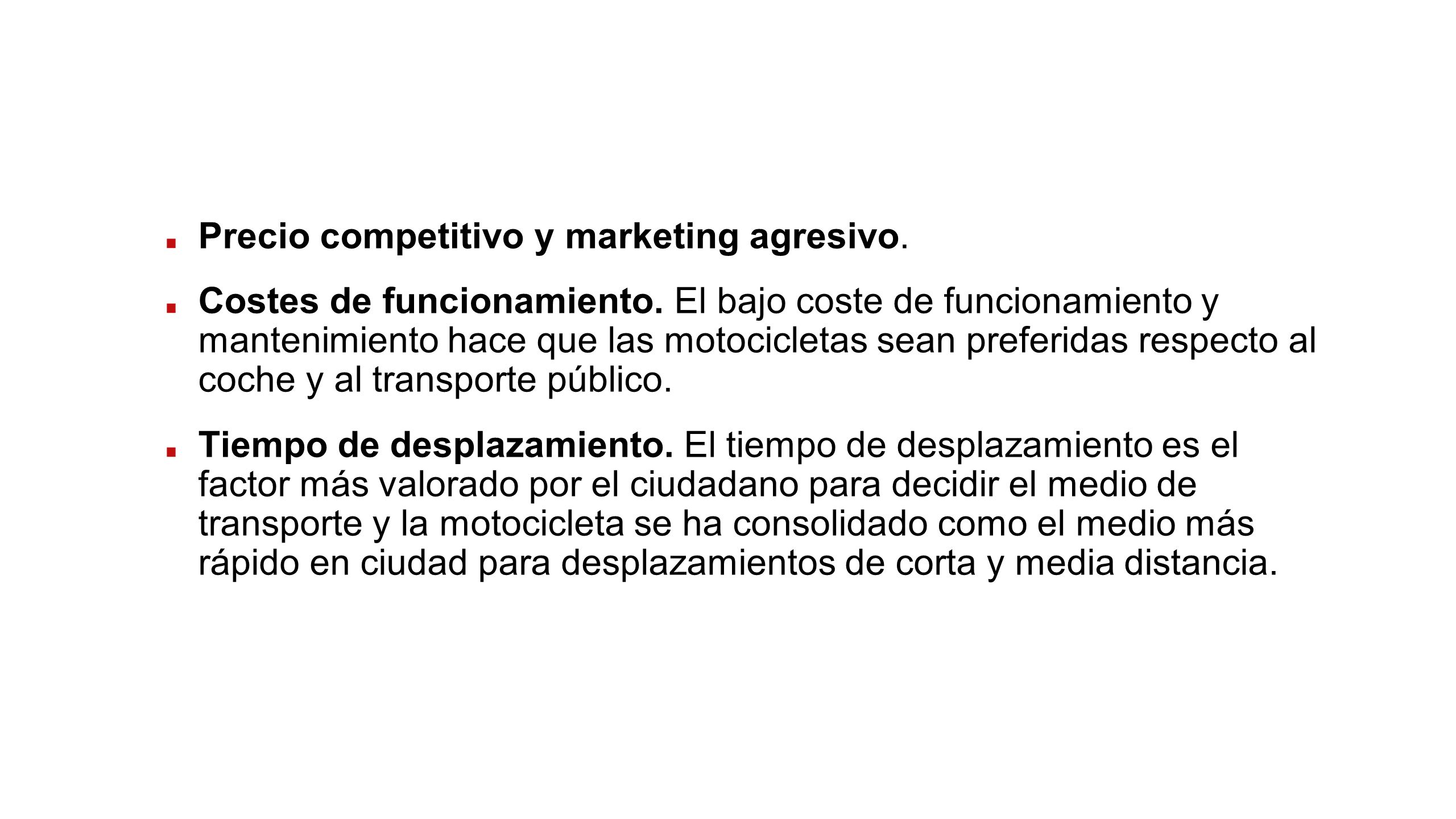 Precio competitivo y marketing agresivo.Costes de funcionamiento.