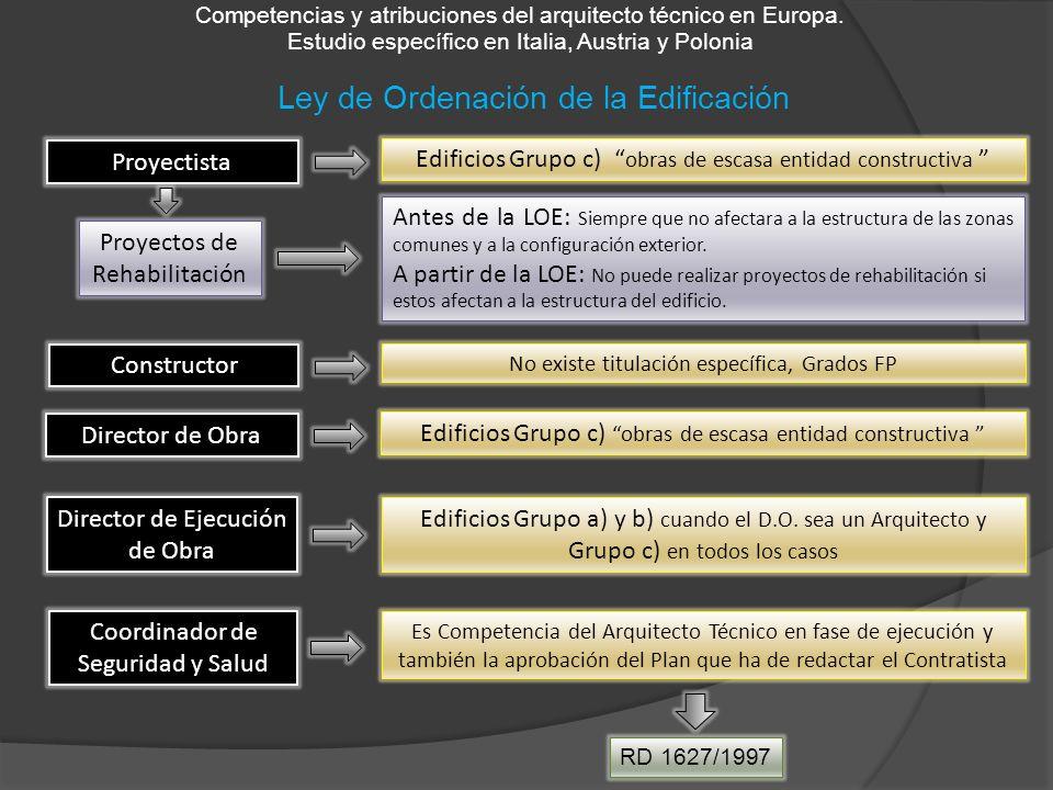 Ley de Ordenación de la Edificación Competencias y atribuciones del arquitecto técnico en Europa. Estudio específico en Italia, Austria y Polonia Proy
