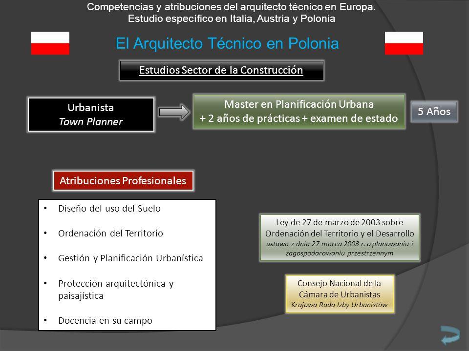Competencias y atribuciones del arquitecto técnico en Europa. Estudio específico en Italia, Austria y Polonia Estudios Sector de la Construcción Urban