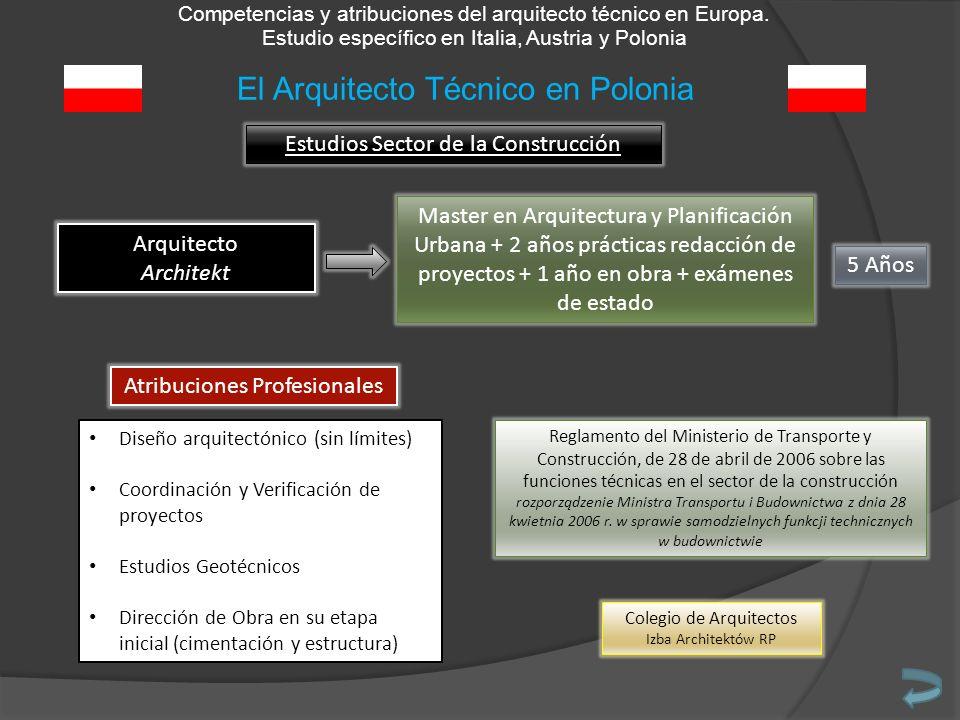 Competencias y atribuciones del arquitecto técnico en Europa. Estudio específico en Italia, Austria y Polonia Estudios Sector de la Construcción Arqui