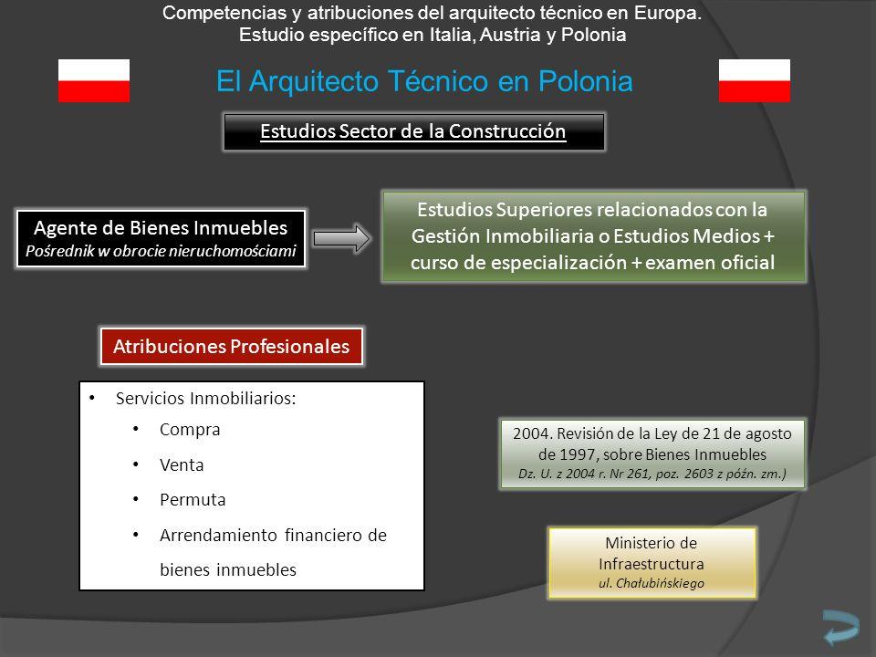 Competencias y atribuciones del arquitecto técnico en Europa. Estudio específico en Italia, Austria y Polonia Estudios Sector de la Construcción Agent