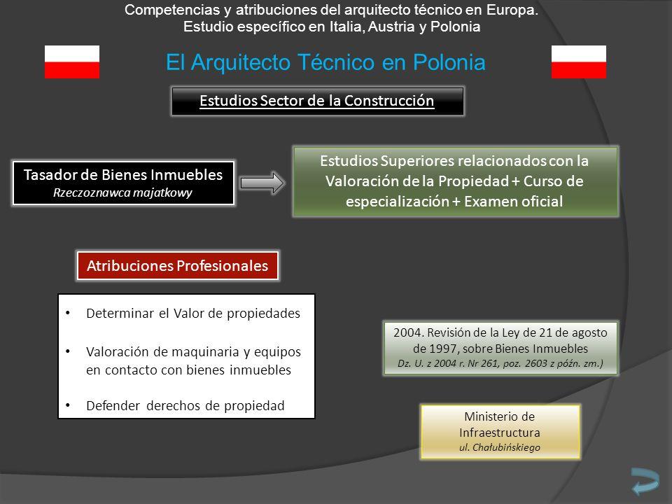 Competencias y atribuciones del arquitecto técnico en Europa. Estudio específico en Italia, Austria y Polonia Estudios Sector de la Construcción Tasad
