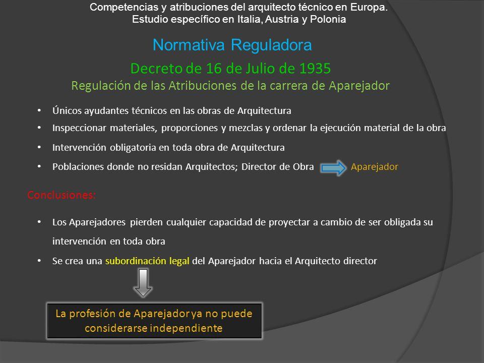 Normativa Reguladora Competencias y atribuciones del arquitecto técnico en Europa. Estudio específico en Italia, Austria y Polonia Decreto de 16 de Ju