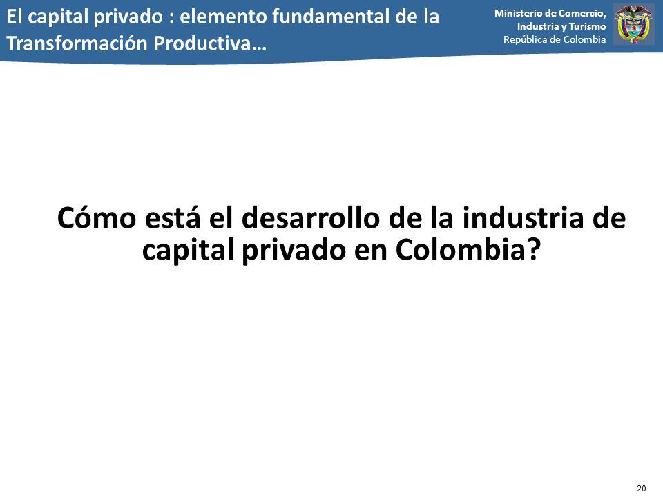 Ministerio de Comercio, Industria y Turismo República de Colombia Cómo está el desarrollo de la industria de capital privado en Colombia? 20 El capita