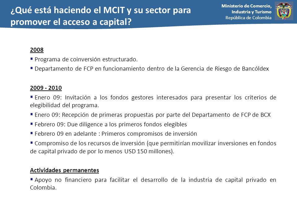 Ministerio de Comercio, Industria y Turismo República de Colombia 2008 Programa de coinversión estructurado. Departamento de FCP en funcionamiento den