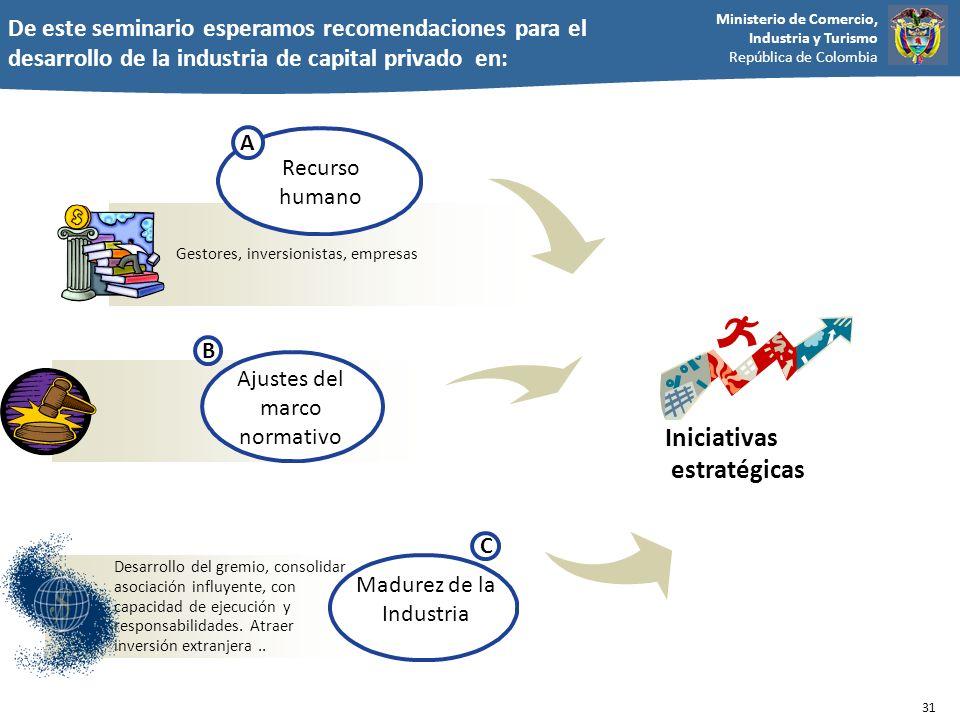 Ministerio de Comercio, Industria y Turismo República de Colombia De este seminario esperamos recomendaciones para el desarrollo de la industria de ca