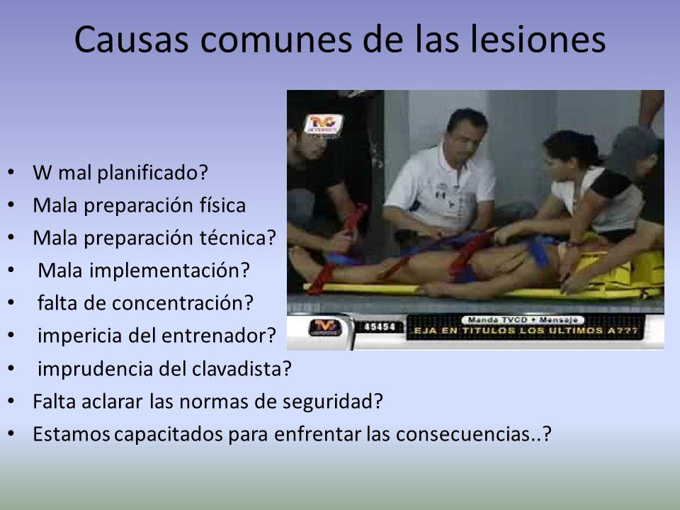 Causas comunes de las lesiones W mal planificado? Mala preparación física Mala preparación técnica? Mala implementación? falta de concentración? imper
