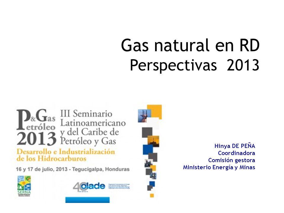 Gas natural en RD Perspectivas 2013 Hinya DE PEÑA Coordinadora Comisión gestora Ministerio Energía y Minas