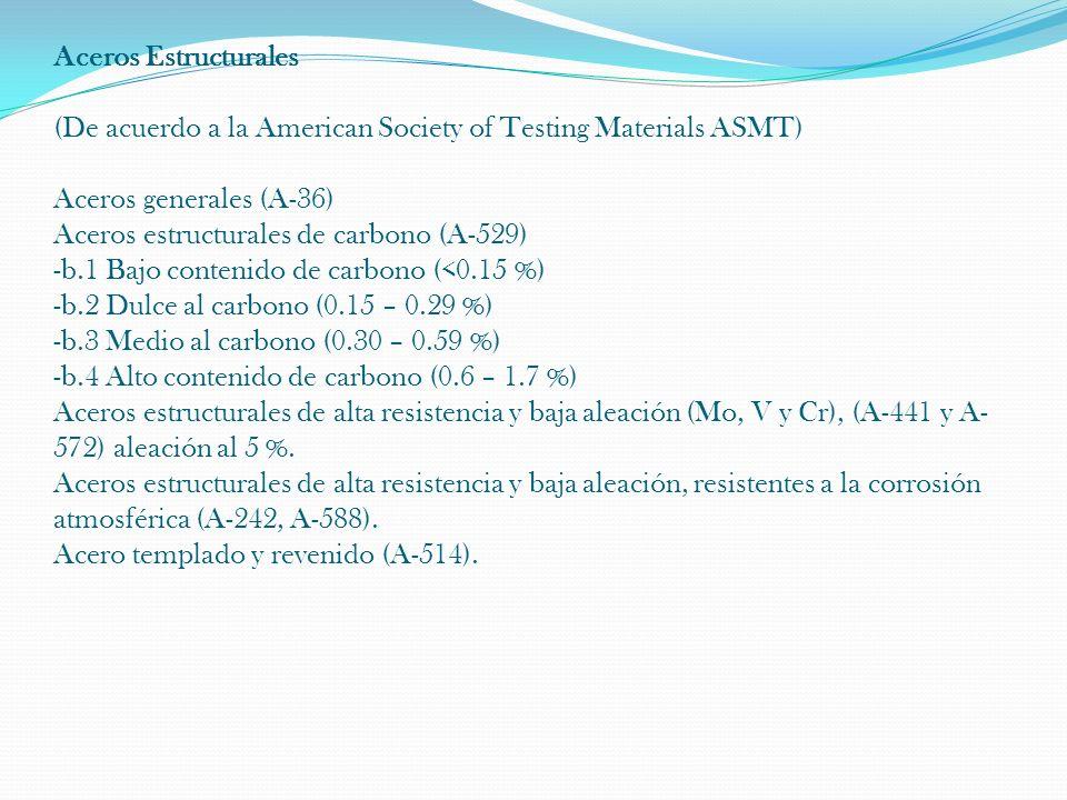 Aceros Estructurales (De acuerdo a la American Society of Testing Materials ASMT) Aceros generales (A-36) Aceros estructurales de carbono (A-529) -b.1