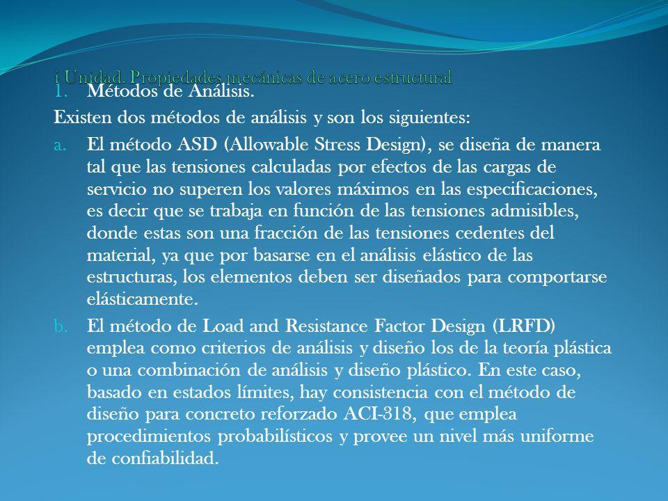 1. Métodos de Análisis. Existen dos métodos de análisis y son los siguientes: a. El método ASD (Allowable Stress Design), se diseña de manera tal que